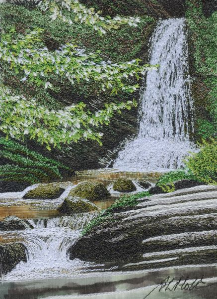 At The Foot Of The Falls Machine embroidery by Alison Holt