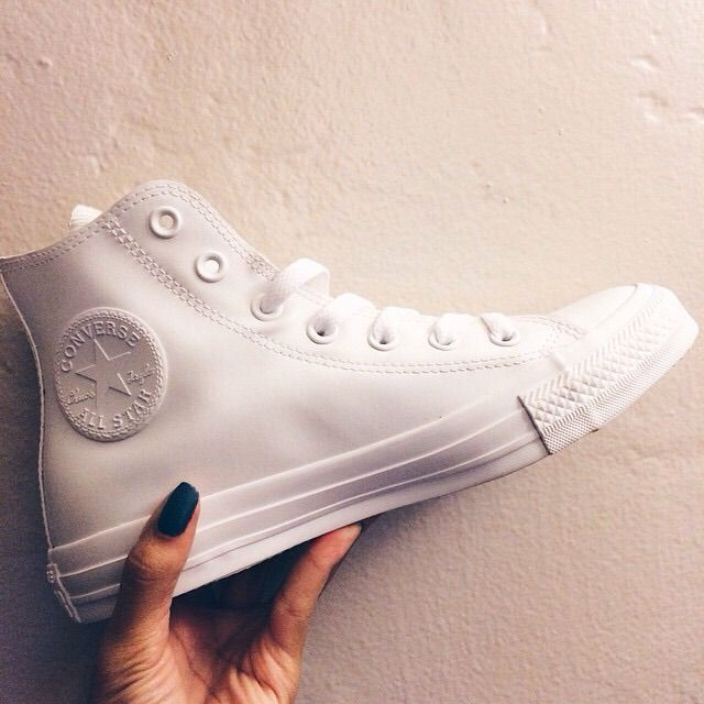 All white leather high top converse
