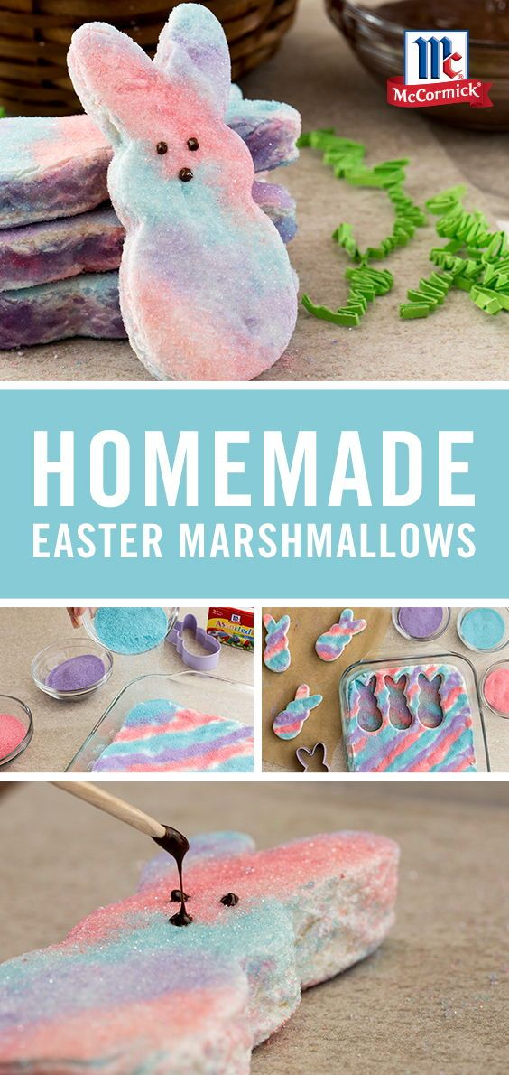 Forget store-bought and try homemade Easter marshmallows! Flavored with McCormick Pure Vanilla Extract and decorated with colored sugar using NEON! Food Colors. These easy DIY peeps are the perfect kid-friendly Easter dessert recipe.