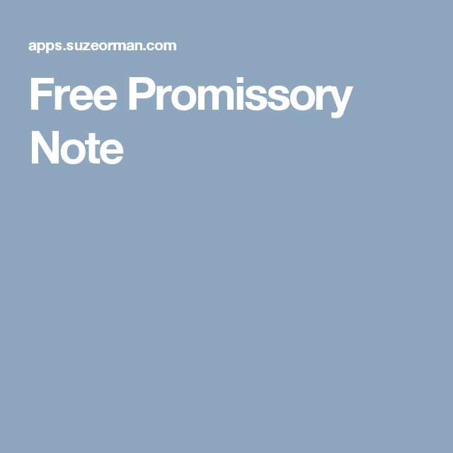 promissory note examples
