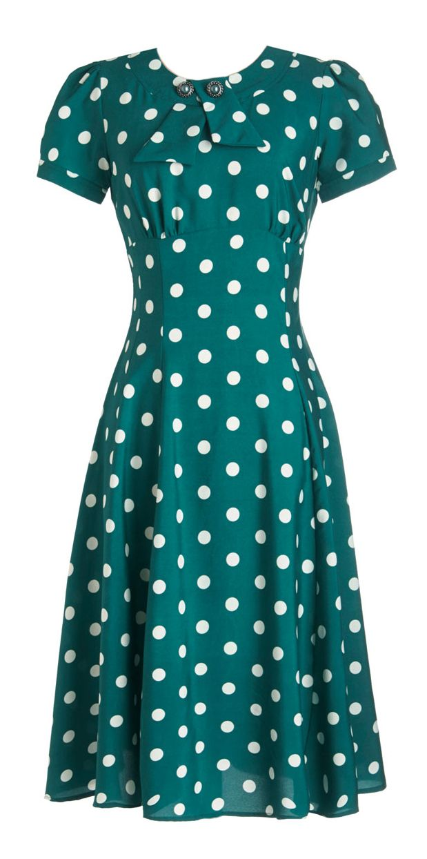 Teal polka dot dress
