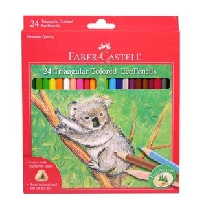 Colored pencils are important for art because they enable shading like crayons and markers do not.  Faber-Castell pencils are excellent quality.  They have more pigment, won't roll away, and have break-resistant lead that won't fall out.    Faber-Castell 24ct Triangular Colored EcoPencils - Amazon.com