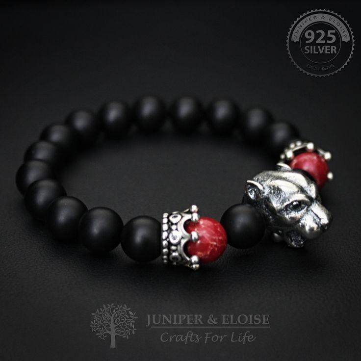 Lion bracelet, Mens Bracelet, Womens Jewelry, Gemstone Bracelet, 925 Silver Lion, Stretch bracelet for men by JuniperandEloise on Etsy