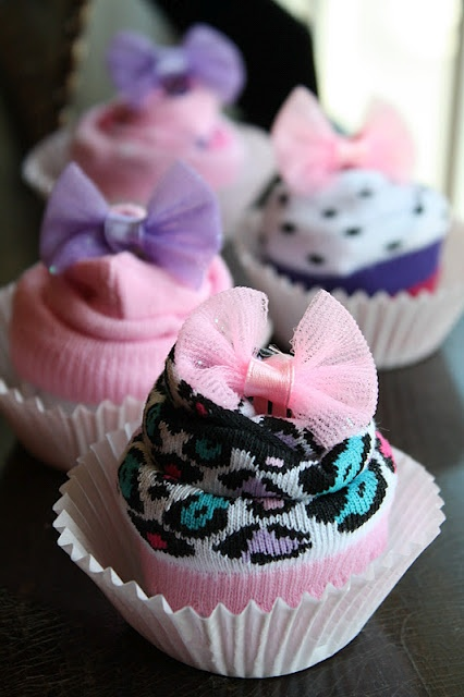 "Baby Shower ""Cupcakes"" with baby socks!! You can also use onesies or baby wash cloths/burp cloths! :)"