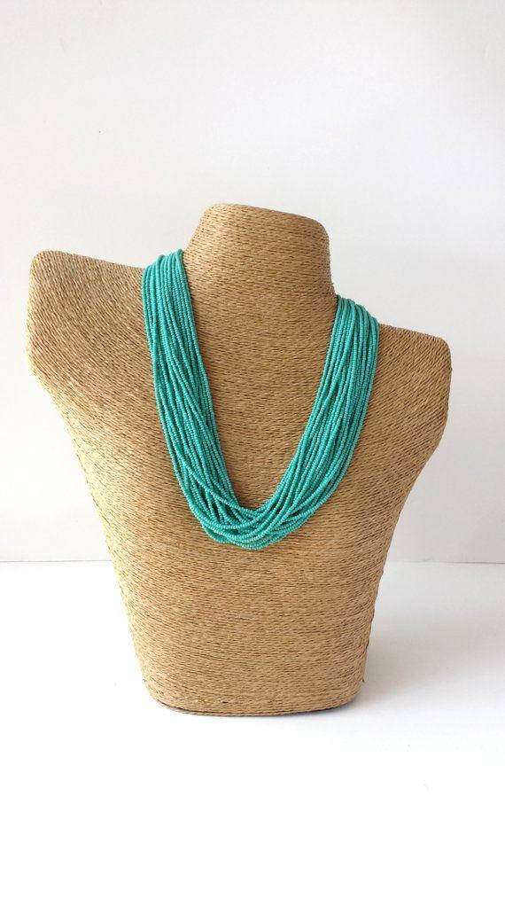 Bridesmaid turquoise necklace, blue necklace, teal, statement necklace, boho, multistrand, beaded necklace, aqua necklace on Etsy, $35.00
