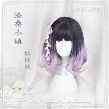 Men's Short Wig Princess Lolita Curls Cosplay Girl Blue Mix Purple Gradient Hair