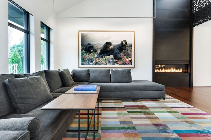 Interior:Modern Living Room Also Contemporary Living Room With Gray Sofas Wooden Table Cute Bears Paintings Also Sweet Modern Fireplace Make Great Living Room And The Mansion Interior Design From Iron Lace In Montreal Canada Modern Mansion Style with Adorable Black Polka Dots Staircase in Canada