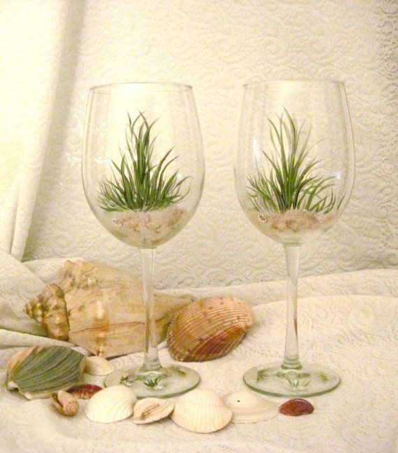 Beach grass wine glasses hand painted by DeannaBakale on Etsy