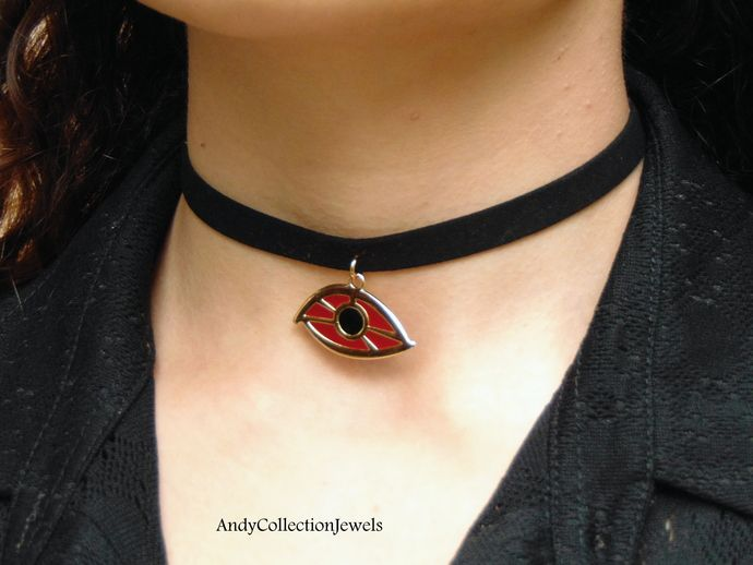 Black wide suede choker Evil eye pendant choker Gold tone evil eye pendant choker Black with burgundy evil eye pendant Huge evil eye pendant by AndyCollectionJewels, $16.00 EUR
