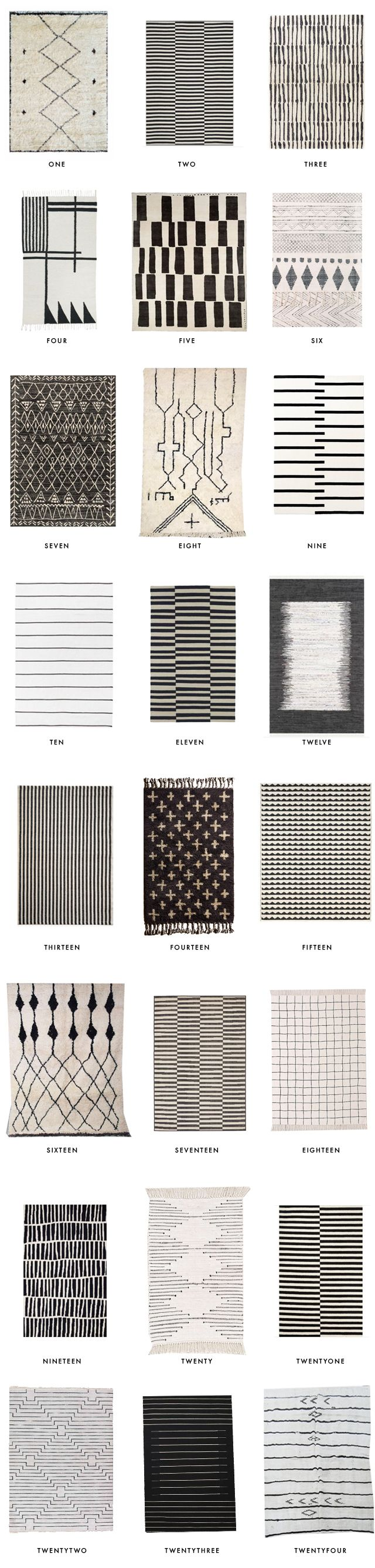 24 best black and white rugs // round up // sarah sherman samuel