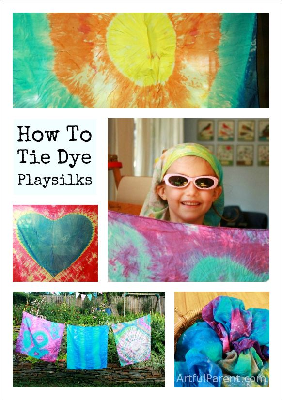 Step-by-step instructions on how to tie dye scarves and playsilks, including how to make tie dye hearts, sunbursts, and other fun designs.