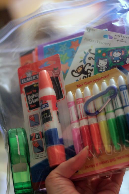 craft supplies in plastic bag.  Traveling games ideas.