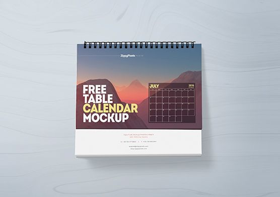 Free table calendar mockup with loads of customizations and features. Perfect for presenting your daily, monthly or yearly calendar designs…
