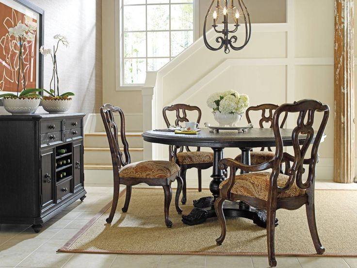 Stanley Furniture Rustica Dining Room. Traditional styling and pedestal style base add the perfect look to your families' dining pleasures. See this dining room today and prepare your home for the holidays.