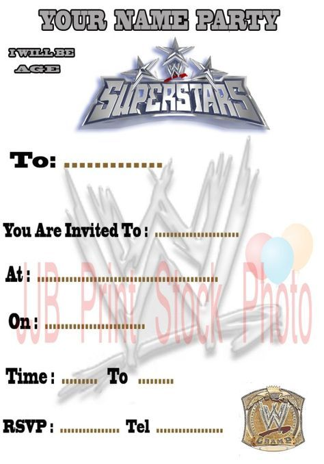 Printable Wwe Invitations Birthday Party Party Ideas Pinterest