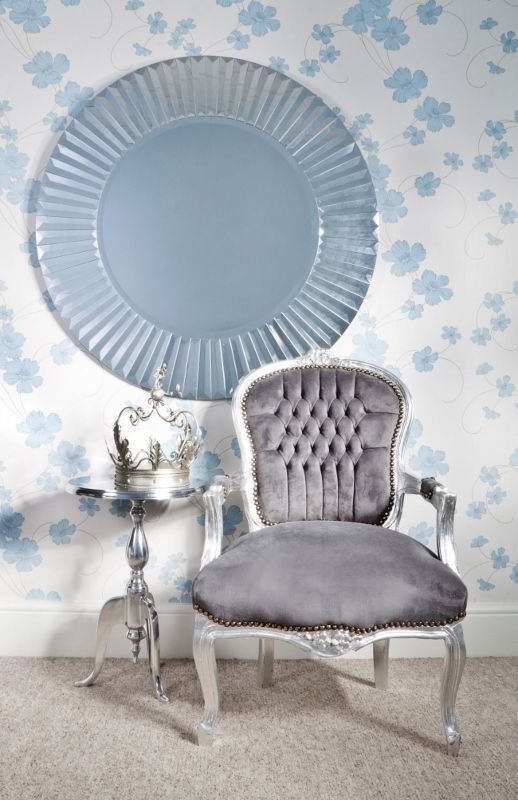 Grey Suede Amp Silver Louis Style Salon Chair Throne In Home