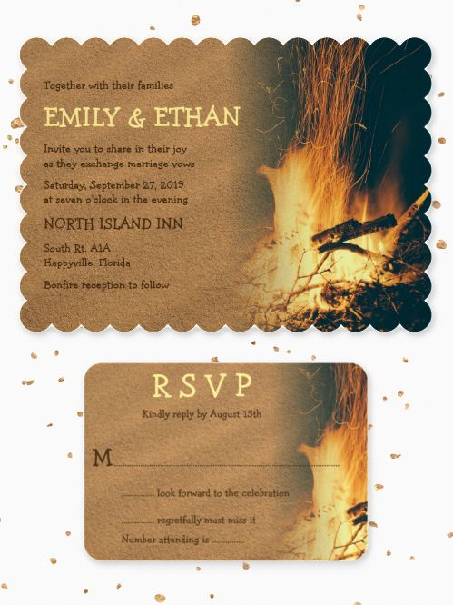 Bonfire Beach Wedding Invitations And Matching StationeryThis Design Was Created For An Evening