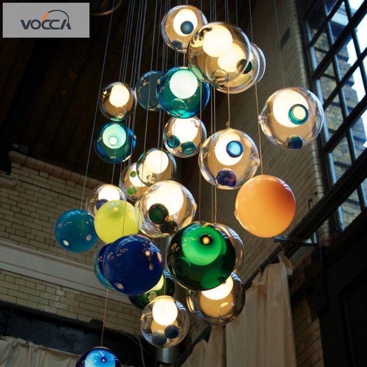 Современный минималистский стиль стеклянный шар люстра ресторан творческой личности светодиодные лампы спальни гостиной лампы -tmall.com Nordic Art Lynx