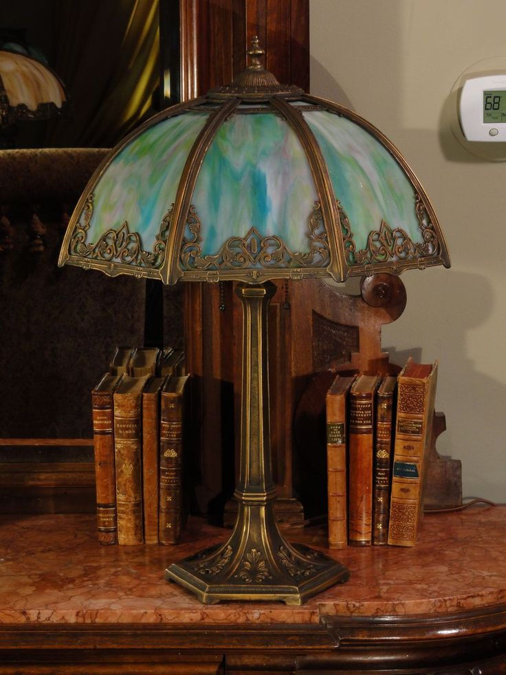 Gothic Revival Panel Lamp w/ Gorgeous Slag Glass Shade
