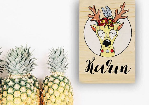 Woodland deer nusery and baby shower custom name sign, new baby girl gift, Hand painted sign, Deer antler name, Forest animal illustration