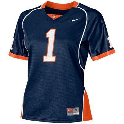 Nike Illinois Fighting Illini #1 Navy Blue Ladies Replica Football Jersey