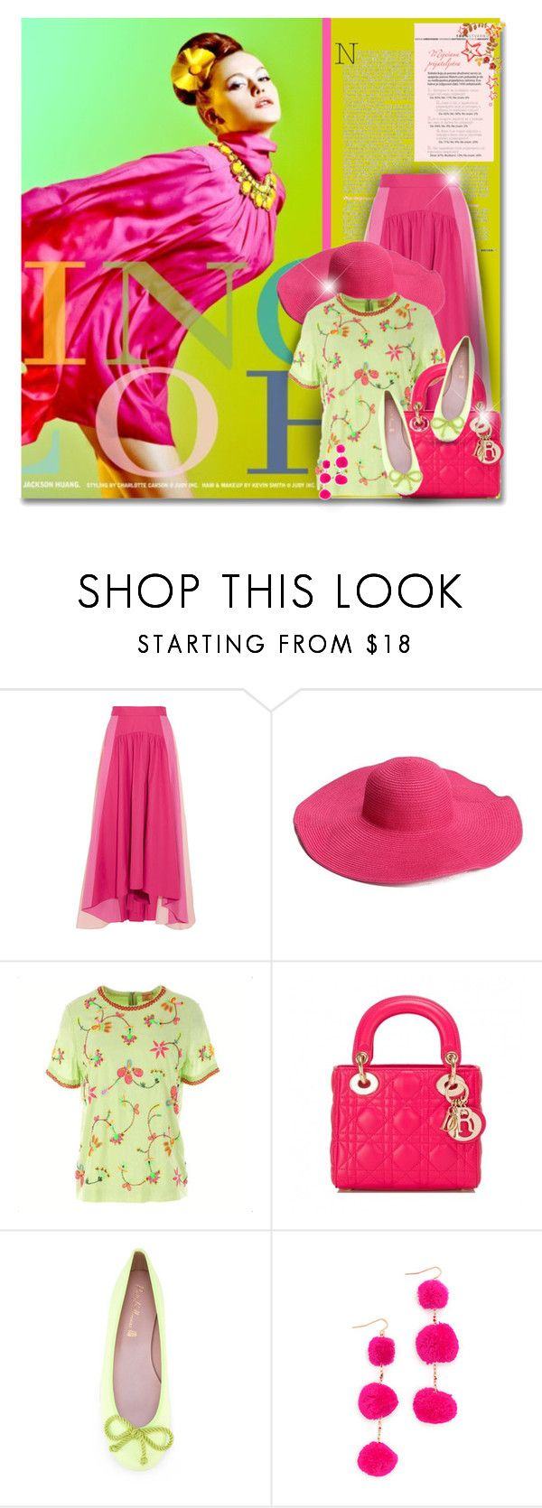 """""""Hot Pink Summer"""" by elona-makavelli ❤ liked on Polyvore featuring Peter Pilotto, Derhy, Christian Dior, Pretty Ballerinas and Vanessa Mooney"""