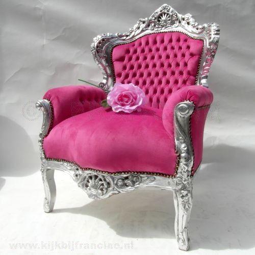 Kopie Barok Fauteuil, zilver & roze fluweel