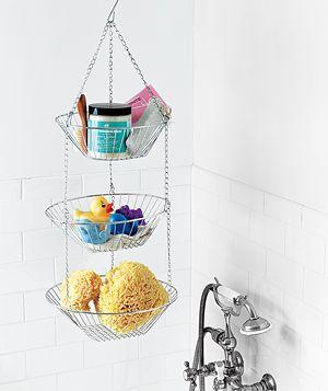 Storage options for a small bathroomSmall Bathroom, Bath Toys, Bathroom Storage, Fruit Baskets, Organic Bathroom, Bathroom Ideas, Shower, Bathroom Organic, Hanging Baskets