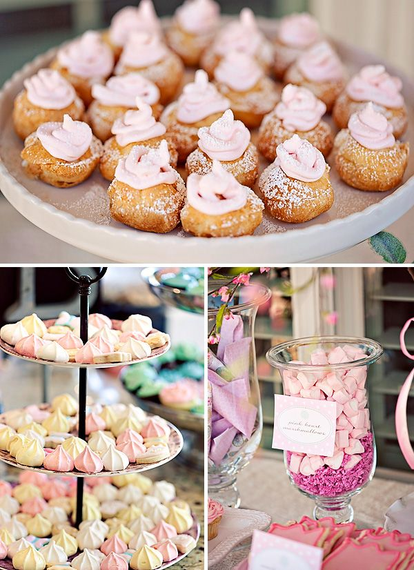 Beautiful petite desserts for a baby girl shower.