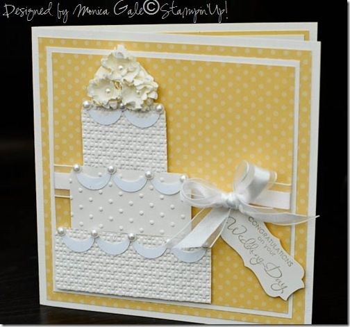 So saffron, Very vanilla and Whisper White. The cake layers have been embossed using the Big shot and the top flowers have been made using the Boho Blossom punch. Scrunch the shapes and separate the card stock layers then add on top of each other for a full and pretty looking bloom.