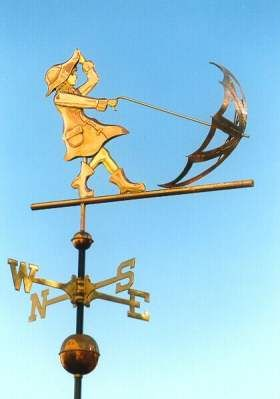 Girl with Umbrella Weathervane by West Coast Weather Vanes.  This copper Girl with an Umbrella handcrafted Weather Vane features  Brass and Gold accents.