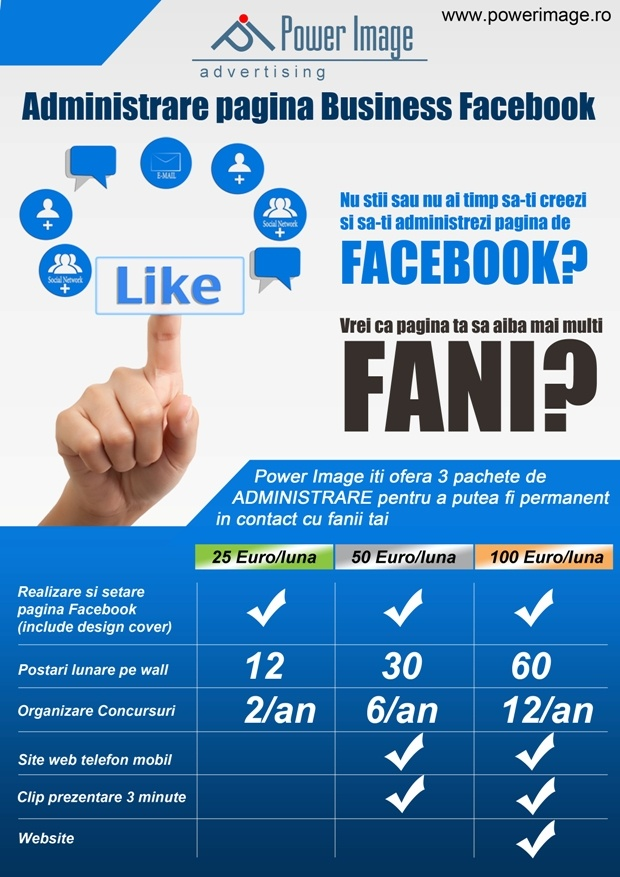 Administrare pagini facebook.