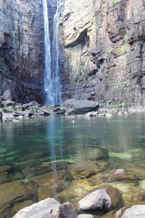 Kakadu NP, Northern Territory, #Australia: Rock pool at Jim Jim Falls