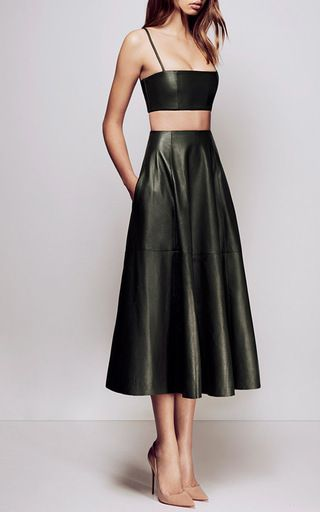 Kari Leather Midi Skirt by ALEX PERRY for Preorder on Moda Operandi