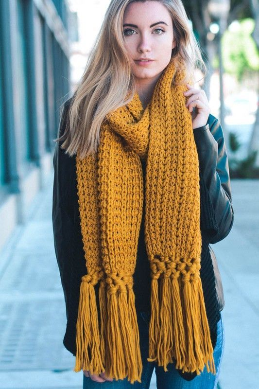 YES! I love Mustard and this Mustard Fringe Chunky Scarf needs to get in my fall wardrobe right now.