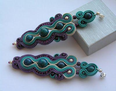 www.facebook.com/... Rękodzieło-biżuteria sutasz. Handmade-soutache jewellery. #emerald #valentinesday #earrings #kolczyki #walentynki #prezenty