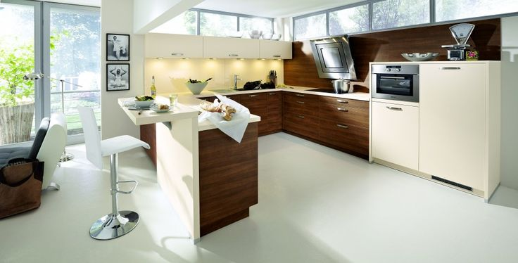 Interior, Fantastic Kitchen Interior Design With U Shaped Laminate Wood Kitchen Cabinet With White Quartz Countertop And Raised Bar Counter Modern White Swivel Bar Stool With Back Yellow Glass Backsplash Lightings Under Cabinet: Perfect and Ideal Kitchen Interior Design Ideas