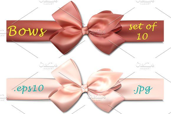 Set of 10 colorful satin bows by Vjom on @creativemarket