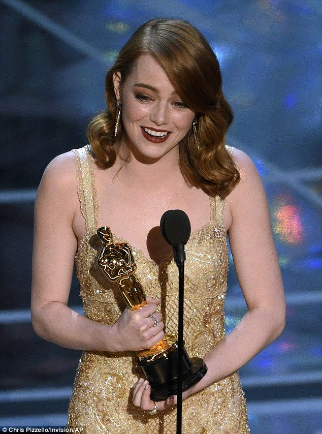 It's an honor: Emma Stone tearfully accepted the Academy Award for Best Actress on Sunday ...