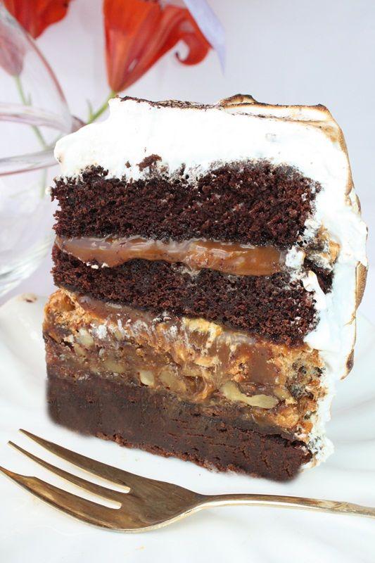 Caramelo-Choco-Meringue cake,special pentru Andie!