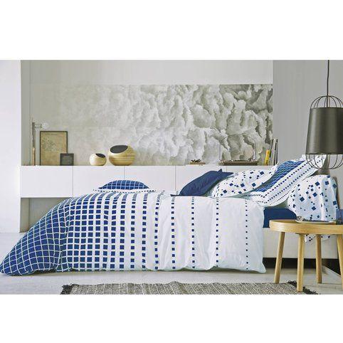 cheap housse de couette percale de coton imprim damiers mirage bleu marine blanc des vosges. Black Bedroom Furniture Sets. Home Design Ideas