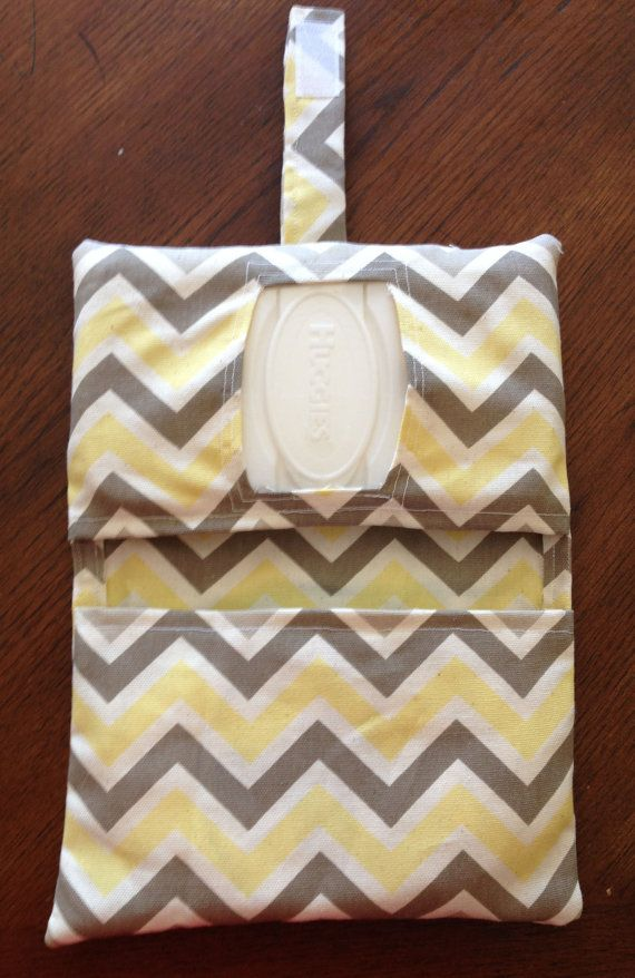 Yellow and Grey Chevron Diaper Clutch by RilosAndMiMi on Etsy, $12.00  I would want pink and grey- love those colors together.