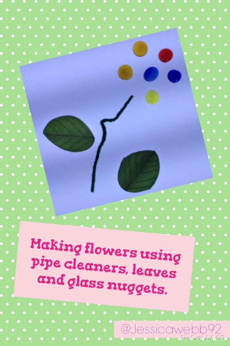 Making transient flowers using pipe cleaners, leaves and glass nuggets. EYFS