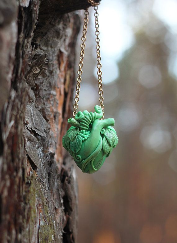 green heart of nature polymer clay realistic heart by VitaVerano