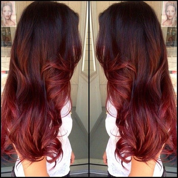 Pics For Medium Brown To Red Ombre Hair Liked On Polyvore Featuring Hair Red Ombre Hair Hair Styles Hair