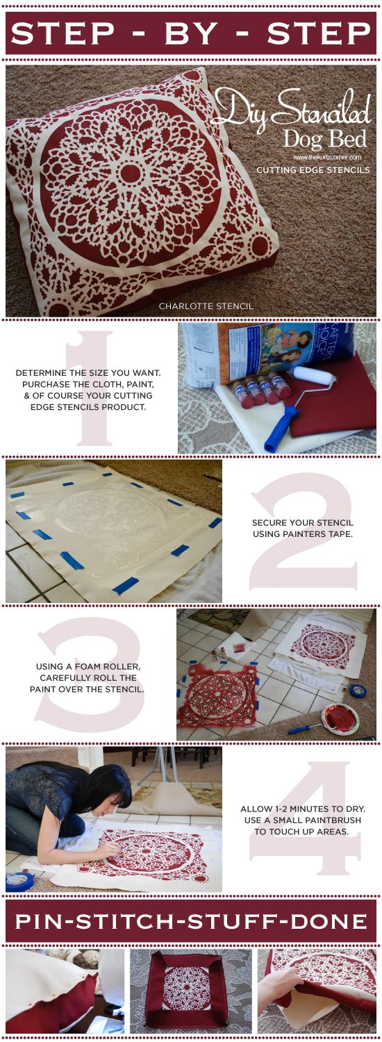 115 best stencil it images on pinterest chairs decorating using the charlotte stencil learn how to paint and create your own dog bed amipublicfo Images