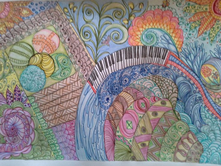 Doodle art. The water mil  With the spinning paints.