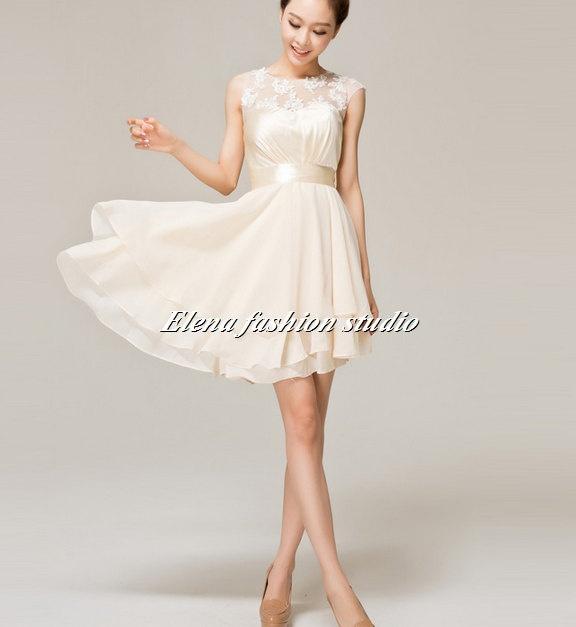 short chiffon prom dress ivory