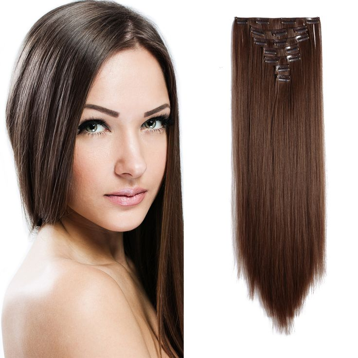 24 Straight Full Head Kanekalon Futura Heat Resistance Hair Extensions Clip On In Hairpieces 7pcs