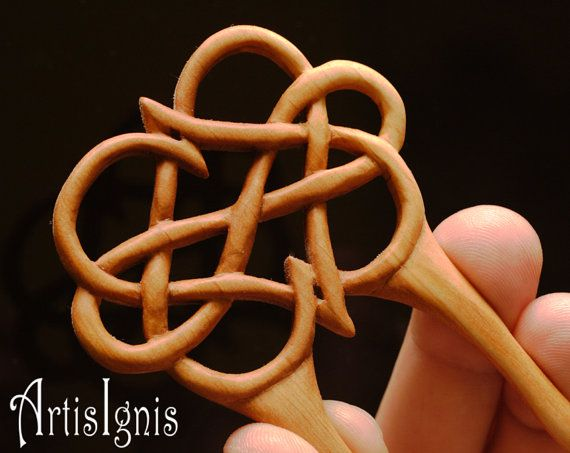 Infinite Love Celtic Knot work Wood Hair Pin Two by ArtisIgnis